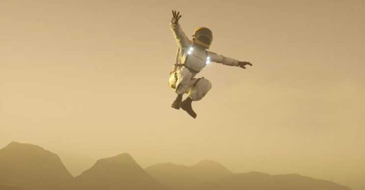 Titan, Satürn'ün bir diğer uydusudur ve düşük bir yer çekimi kuvvetine sahiptir.