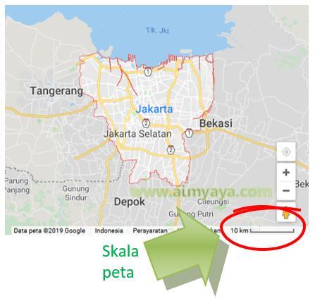 Gambar: Contoh Penggunaan Skala pada Peta Google Map