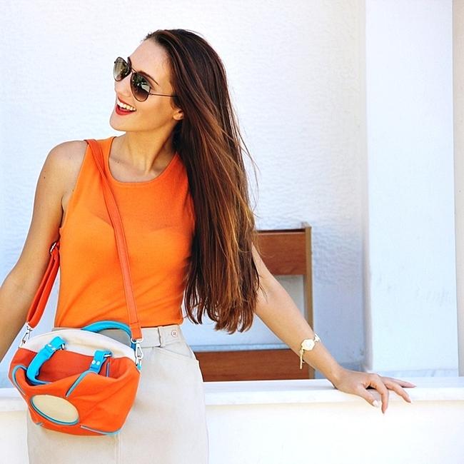 Jelena Zivanovic Instagram @lelazivanovic.Glam fab week.Orange and beige outfit.