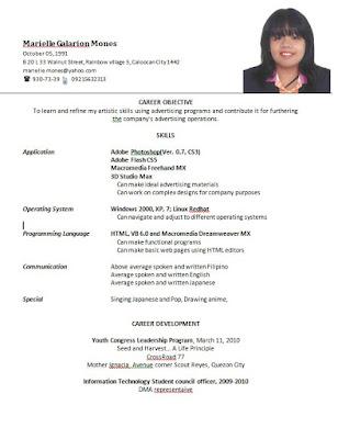 Resume format for ojt students