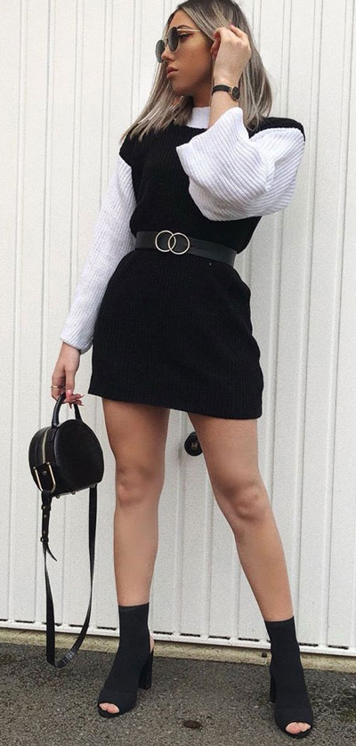 21 Fashion Forward Funky Outfits to Keep You Warm. And make you the coolest, most exciting fashionista on the scene. Winter Outfits via higiggle.com | sweater dress | #fashion #falloutfits #winter #minidress