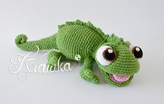 Krawka: Chameleon crochet pattern amigurumi, Pacsal Tangled chameleon lizard, pattern by Krawka