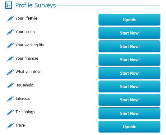Completing profile on Global test market
