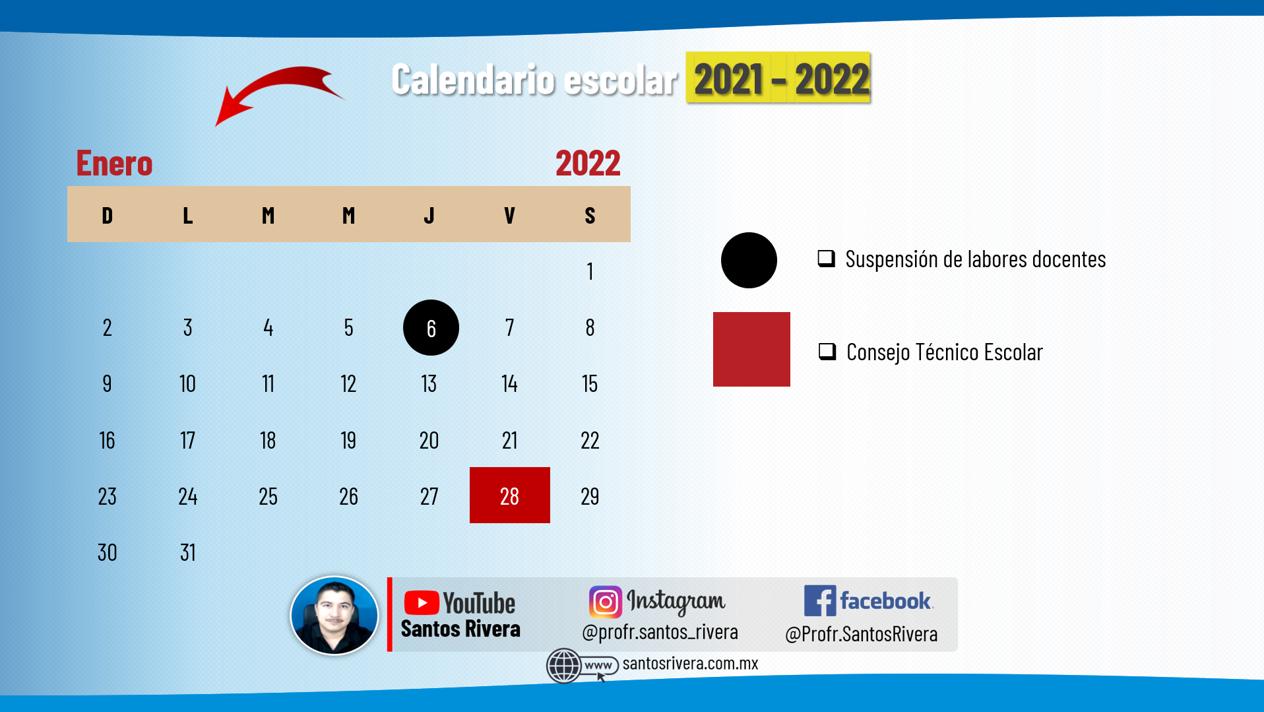 calendario escolar del mes de enero 2021 - 2022