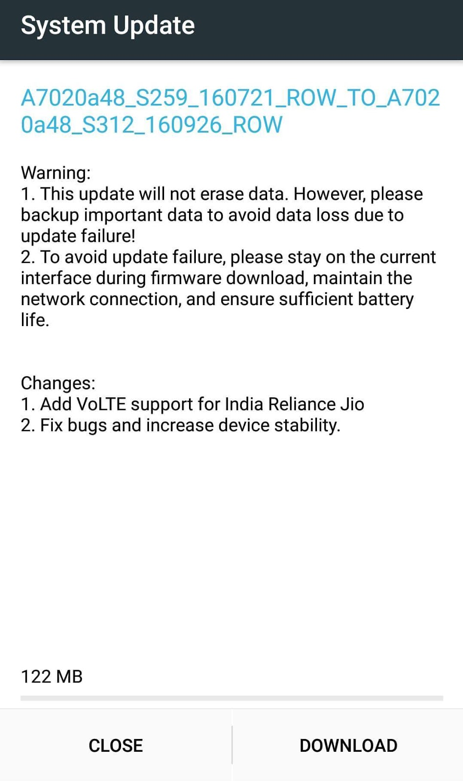 Lenovo Vibe K5 Note receives OTA update for Reliance Jio VoLTE