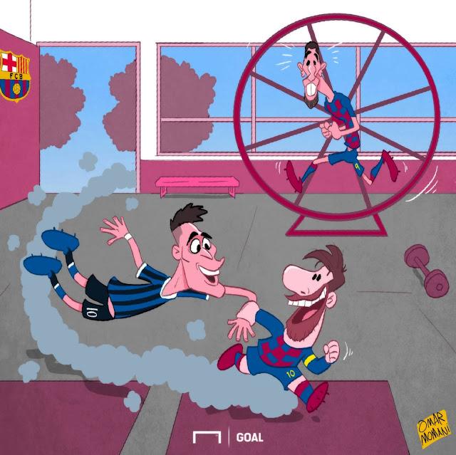 Lautaro Martinez y Messi