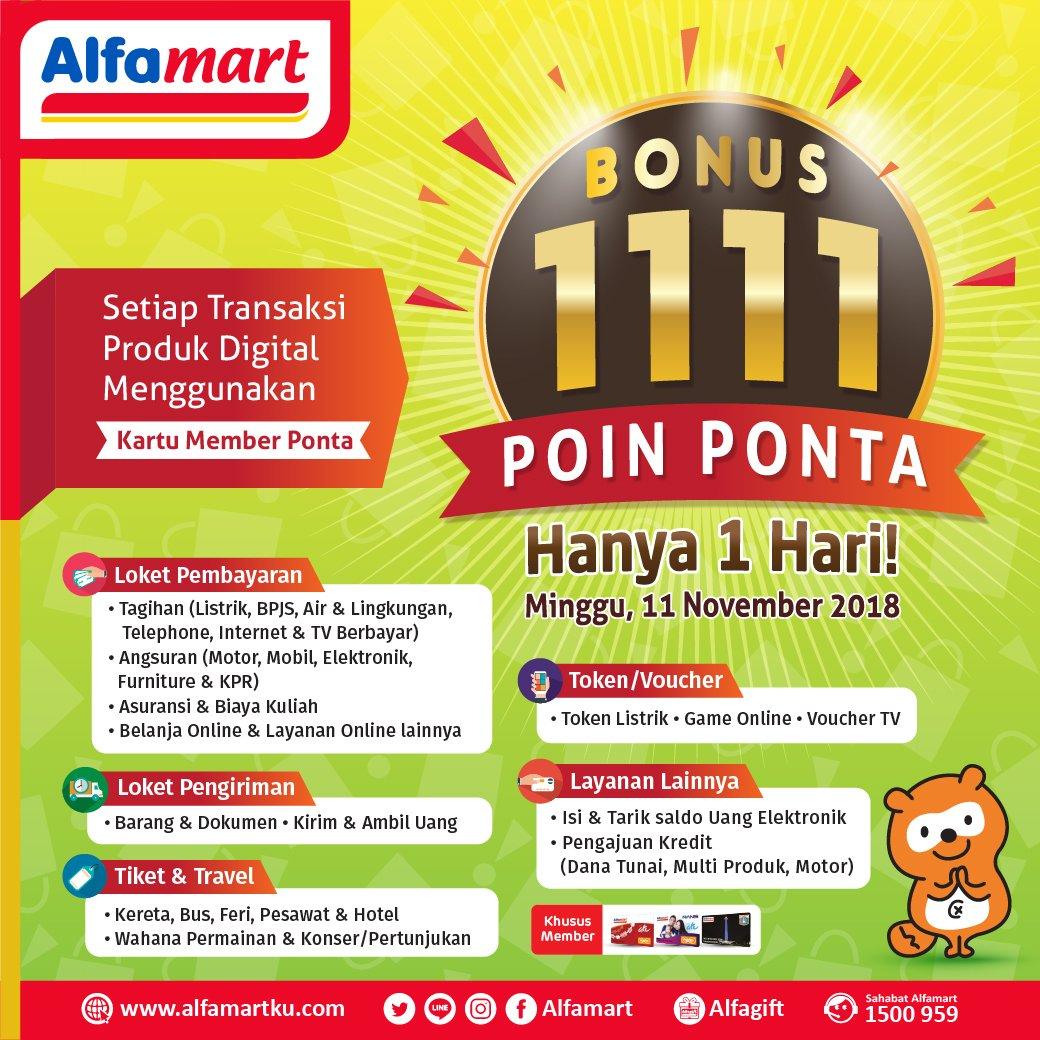 Alfamart - Promo Bonus Poin Ponta 1111 Beli Produk Digital Pakai Kartu Ponta (11 Nov 2018)