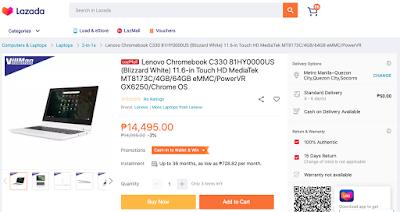 Lenovo Chromebook C330 Lazada