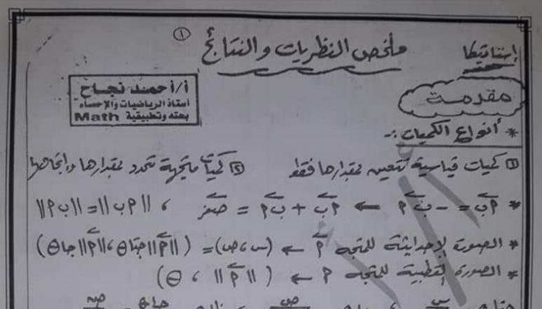 ملخص افكار تطبيقات الرياضيات للصف الثانى الثانوي الترم الأول 2021