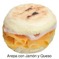 Arepa con Jamón y Queso