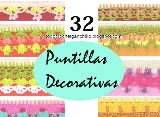 32 esquemas de puntillas crochet para decoración