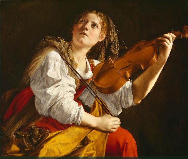 Orazio Gentileschi, Giovane donna con violino - Santa Cecilia