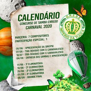 Flyer com o calendário da disputa de sambas