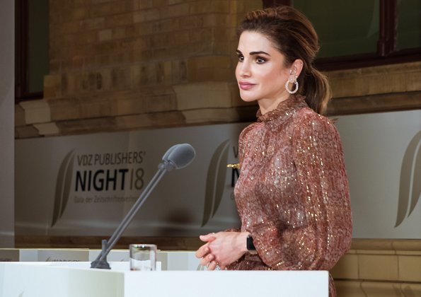 Queen Rania wore Ulyana Sergeenko dress from Fall-Winter 2017-2018 Demi-Couture collection, and Bottega Vaneta pumps