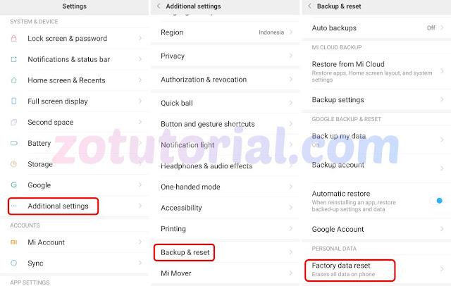 Cara Factory Reset Android Xiaomi Redmi / Redmi Note ALL