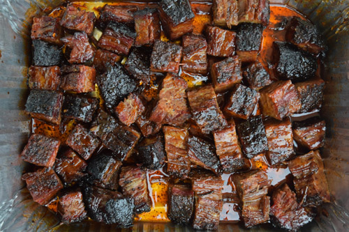 Burnt ends cooked on a Oklahoma Joe's Rider DLX pellet grill