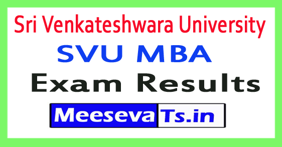 Sri Venkateshwara University SVU MBA Exam Results 2017
