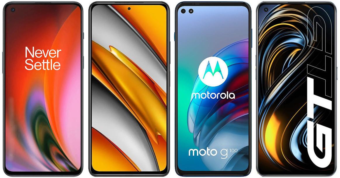 OnePlus Nord 2 vs Xiaomi POCO F3 vs Motorola Moto G100 vs Realme GT