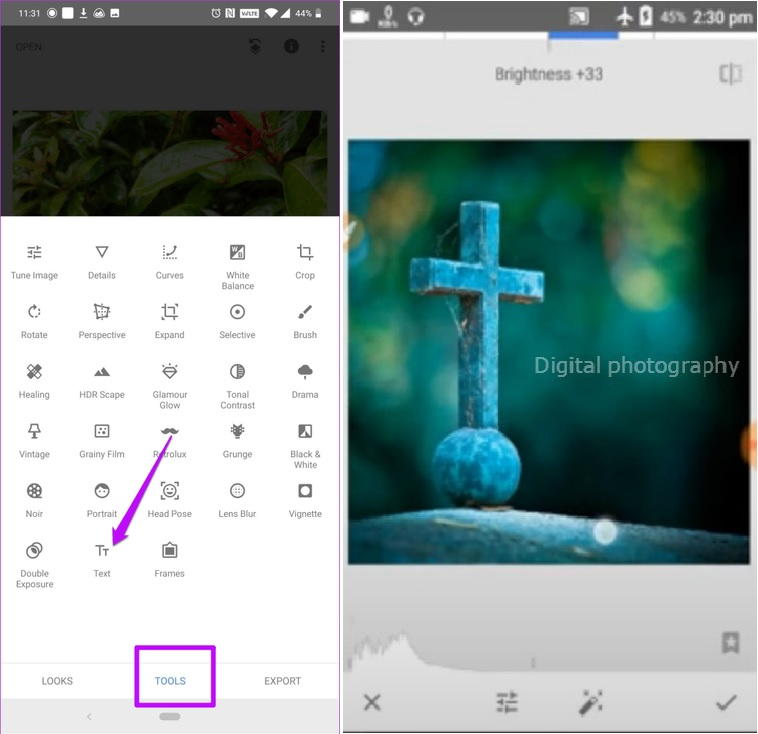 Add text or watermark on your image in snapseed