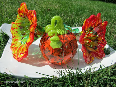 My Scraps | Blown Glass Pumpkin and Formed Glass Flowers