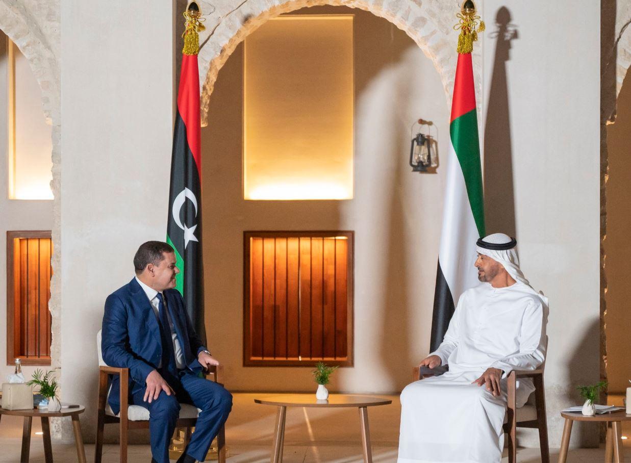 محمد بن زايد يستقبل رئيس حكومة الوحدة الوطنية الليبي