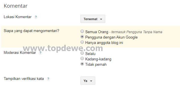 Pengaturan komentar blog agar tidak ada link aktif