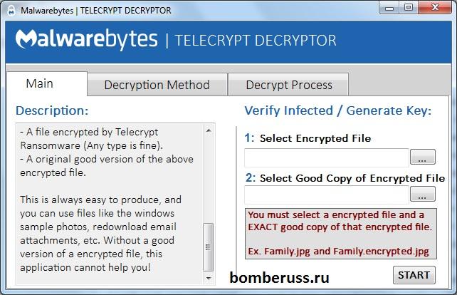 Работа TeleCrypt Decryptor