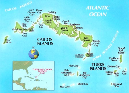 Mapas das Ilhas Turks e Caicos | Reino Unido
