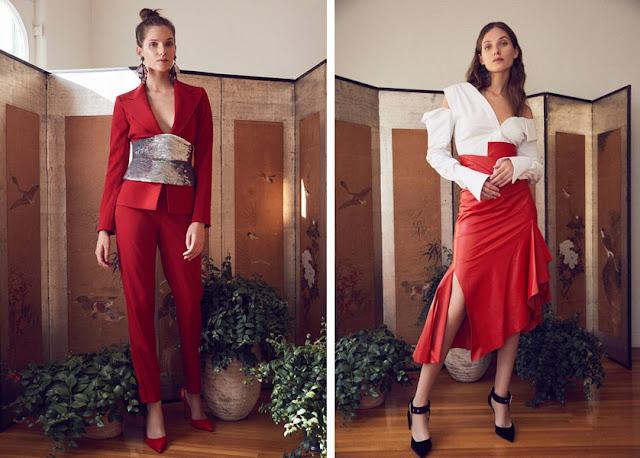 Красный костюм и юбка в образах для вечера