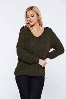 Pulover verde-inchis casual tricotat cu spatele decupat accesorizat cu snur •