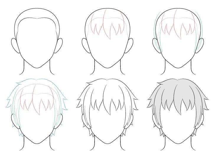 Gambar rambut pria anime selangkah demi selangkah