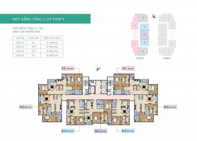 Mặt bằng tầng 3-12A tòa E- Chung cư Xuân Phương Residence