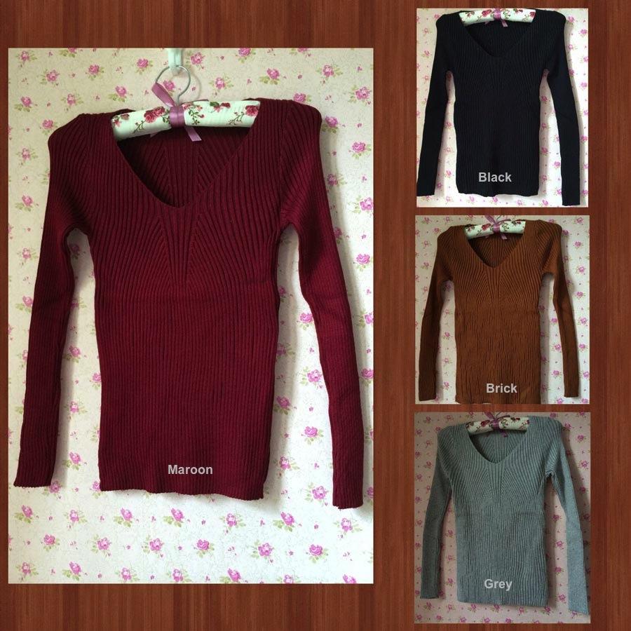 Jual BANGKOK KOREA Knit Long Sleeves Blouse - 13004