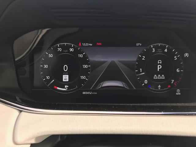 Gauge cluster in 2020 Range Rover Evoque