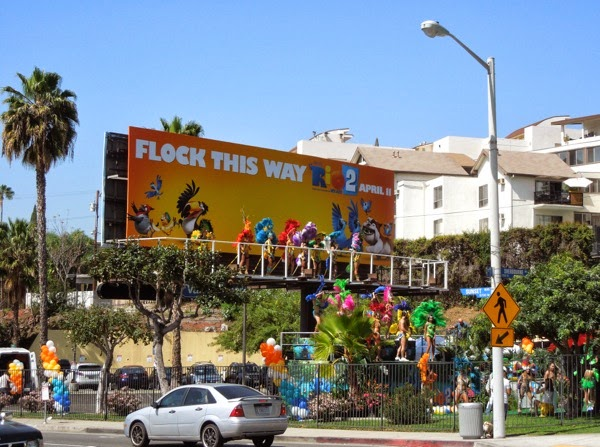 Rio 2 Mardi Gras dancers PR stunt billboard installation Sunset Strip