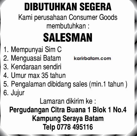 Lowongan Kerja Sales di Kampung Seraya Batam