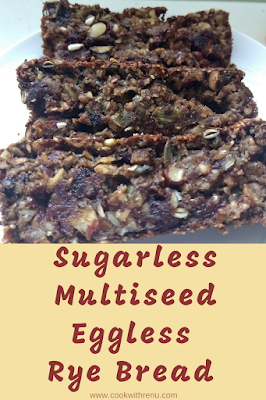 Sugarless Multiseed Eggless Rye Bread
