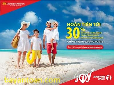 Dùng thẻ Maritime Bank MasterCard mua vé bay Vietnam Airlines được hoàn tiền 30%