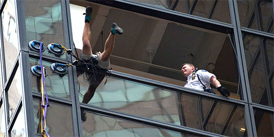 Steve climbing Trump Tower 2