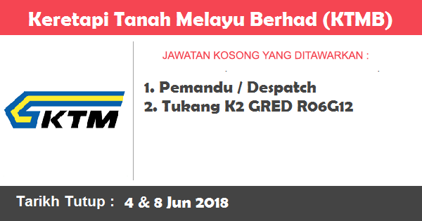Jawatan Kosong di Keretapi Tanah Melayu Berhad (KTMB)