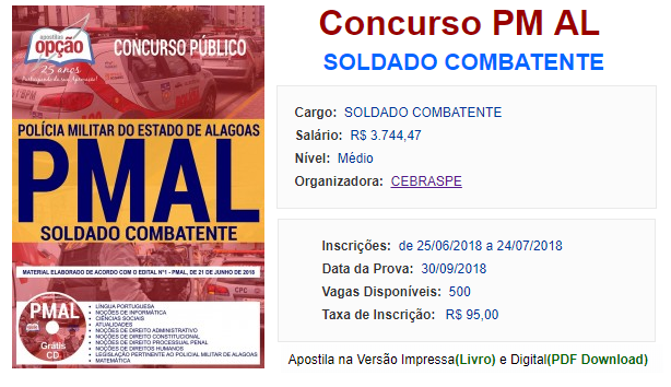 edital Concurso PMAL Soldado Combatente 2018 - apostilas