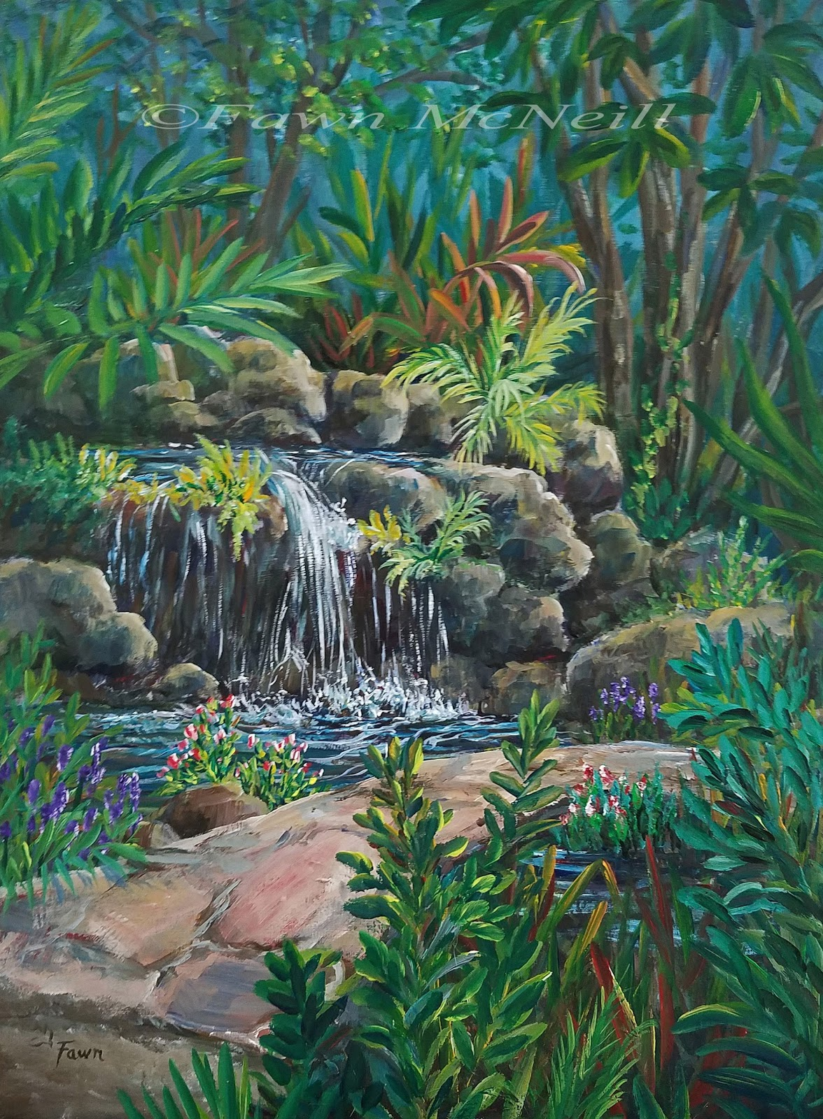 Paintings Of Cobblestone Paths : Fawn s paintings garden falls plein air stone path