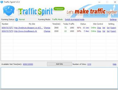 Bot Traffic Spirit - Proof Page Views setelah 2 menit
