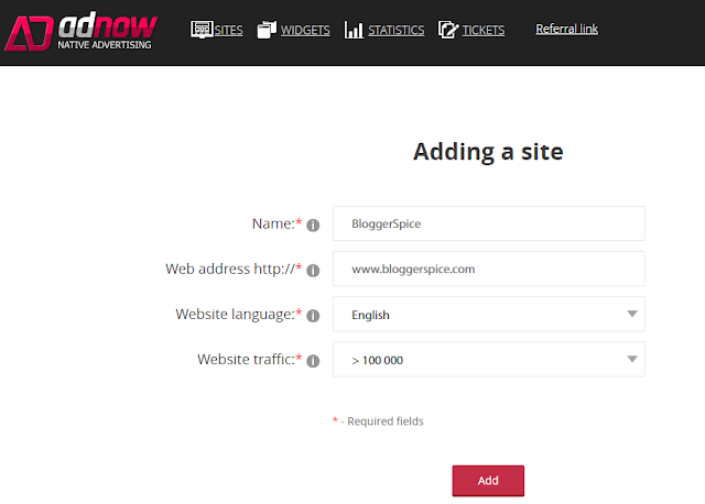 add site in adnow native advertising