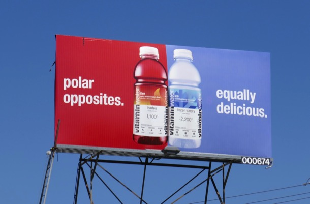 Vitaminwater Polar opposites Equally delicious billboard