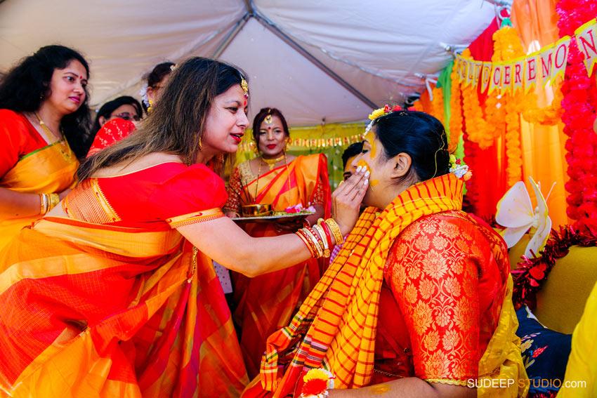 Indian Bengali Wedding Photography Bangla Gaye Holud Ceremony by SudeepStudio.com Michigan Ann Arbor South Asian Indian Wedding Photographer