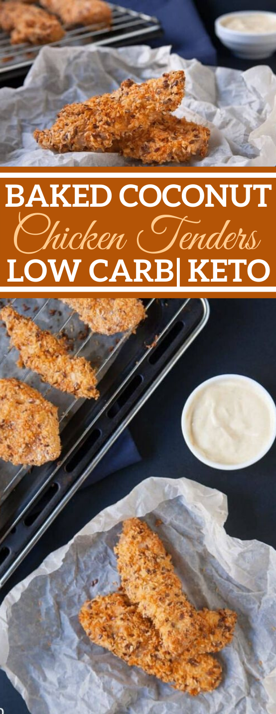 Baked Coconut Chicken Tenders #keto #healthy #lowcarb #dinner #chicken