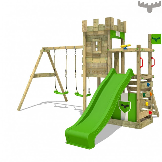A Fatmoose climbing with swings, slide and climbing areas