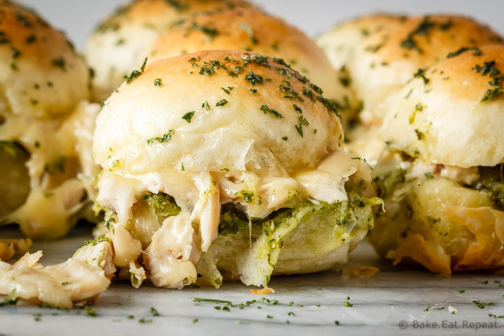 Pesto Chicken Pull Apart Sliders