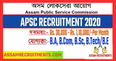 APSC Assam public service commission recruitment,Assam Goverment Jobs